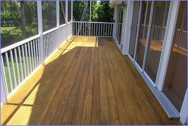 Replaced wood on deck and stained on Sanibel rear deck